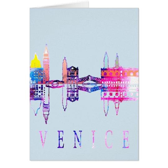 Colourful Venice skyline Card