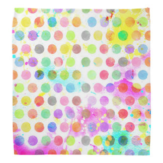 colourful vibrant watercolour splatters polka dots bandana