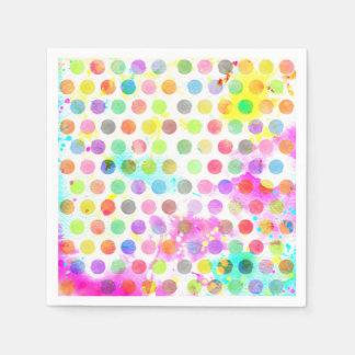 colourful vibrant watercolour splatters polka dots disposable serviette