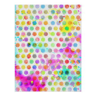 colourful vibrant watercolour splatters polka dots poster