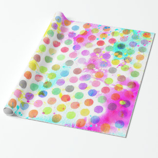 colourful vibrant watercolour splatters polka dots wrapping paper