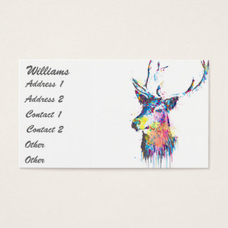 colourful vibrant watercolours splatters deer head business card