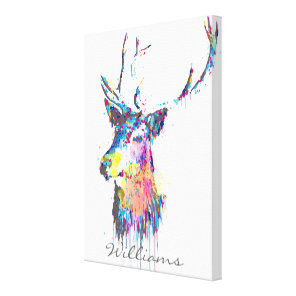 colourful vibrant watercolours splatters deer head canvas print