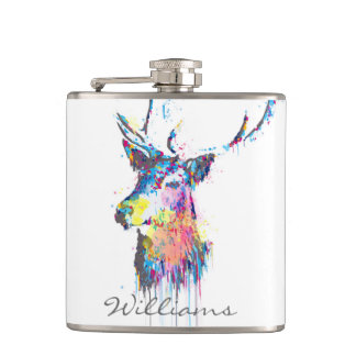 colourful vibrant watercolours splatters deer head hip flask
