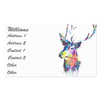 colourful vibrant watercolours splatters deer head pack of standard business cards