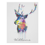 colourful vibrant watercolours splatters deer head poster
