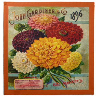 Colourful Vintage Dahlia Flowers Napkins