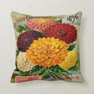 Colourful Vintage Dahlia Flowers Pillow