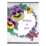 Colourful Vintage Floral Pansy Postcard