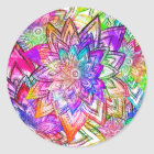 Colourful Vintage Floral Pattern Drawing Classic Round Sticker