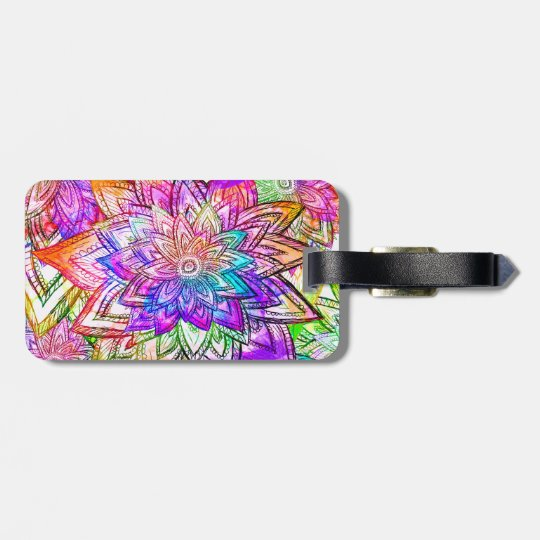 Colourful Vintage Floral Pattern Drawing Luggage Tag