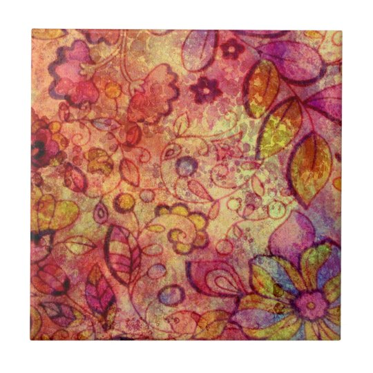 Colourful vintage floral pattern small square tile