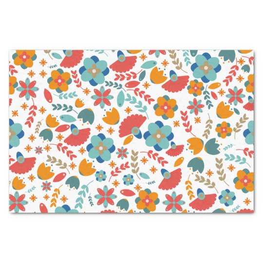Colourful vintage floral seamless pattern tissue paper
