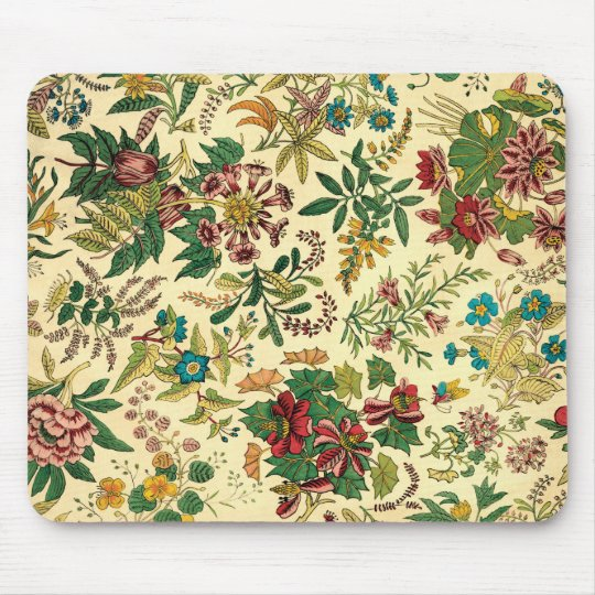 Colourful Vintage Garden Floral Mouse Mat