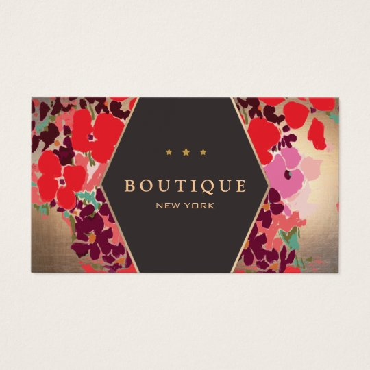 Colourful Vintage Gold Floral Boutique Business Card