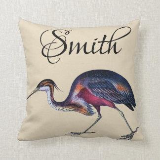 Colourful Vintage Heron Throw Pillow