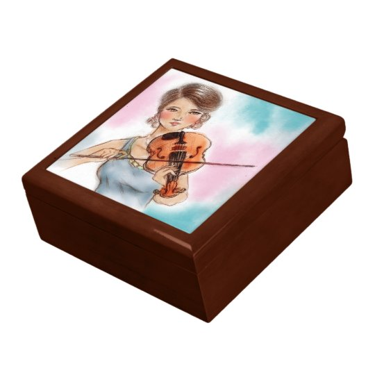 Colourful vintage lady gift box - Violin