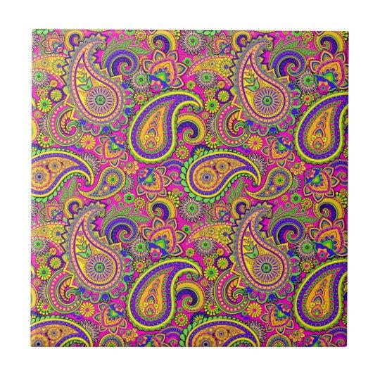 Colourful Vintage Paisley Pattern Tile