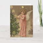 Colourful vintage pink Christmas angel card