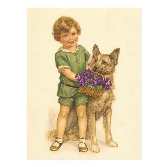Colourful Vintage postcard of child and dog