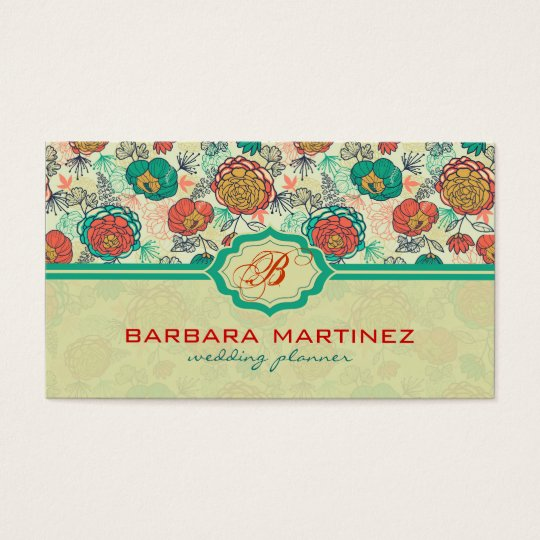 Colourful Vintage Roses Hand-Drawn Style Business Card