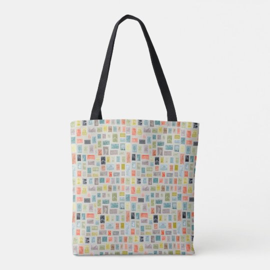 Colourful Vintage Stamps Tote