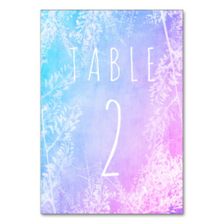 Colourful Vintage Wedding Table Card with number