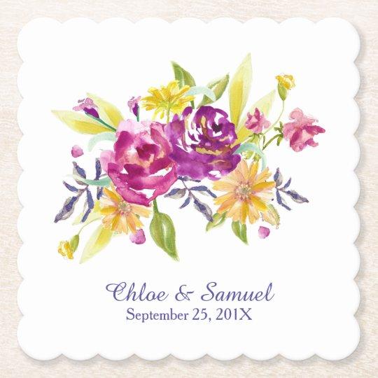 Colourful Watercolor Bouquet Wedding Paper Coaster