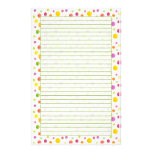 Colourful Watercolor Dots Lined Stationery Paper