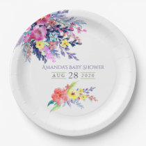 Colourful Watercolor Floral Baby Shower Paper Plate