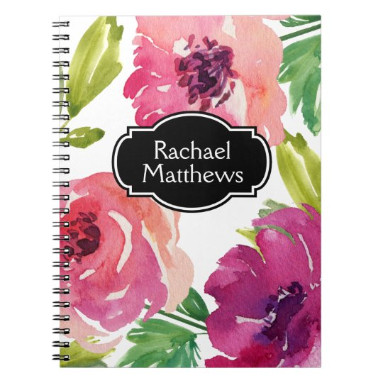 Colourful Watercolor Floral Custom Spiral Notebook