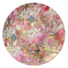Colourful Watercolor Floral Pattern Abstract Plate