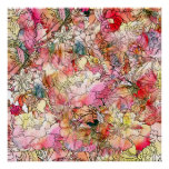 Colourful Watercolor Floral Pattern Abstract Poster