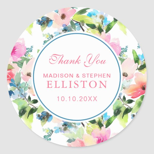 Colourful Watercolor Floral Pattern | Thank You Classic