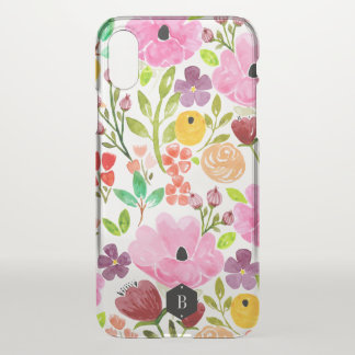 Colourful Watercolor Floral Print Personalised iPhone X Case