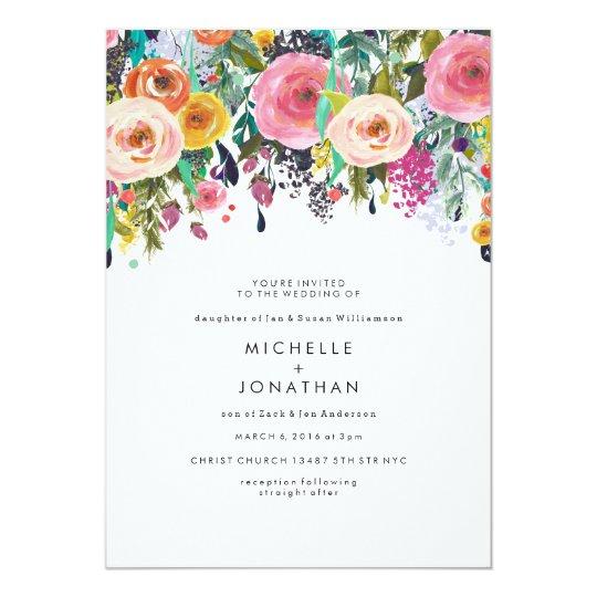 Colourful Watercolor Flower Wedding Invitation