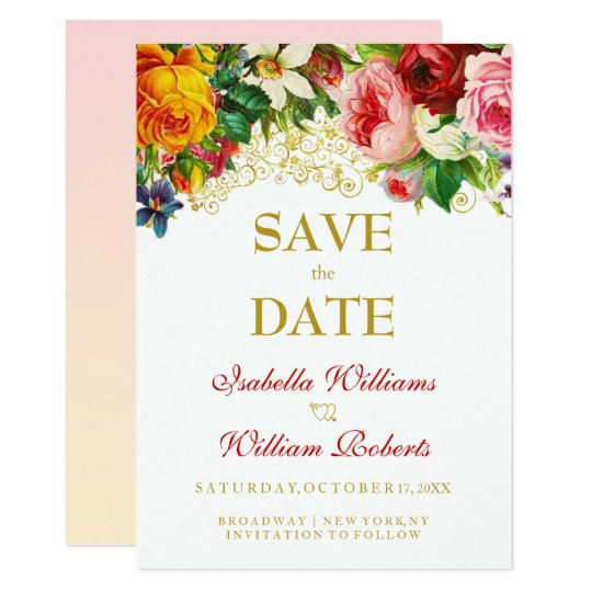Colourful Watercolor Flowers Wedding Save the Date Card