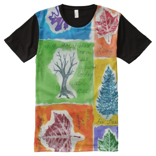 Colourful Watercolor Gouache Leaf Journal All-Over Print T-Shirt