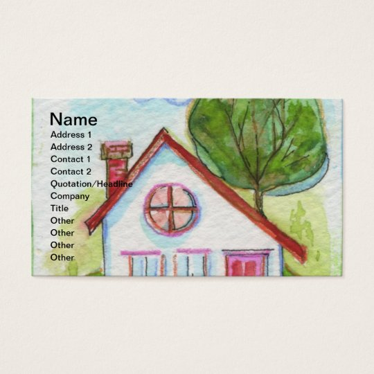 Colourful Watercolor House Business Card