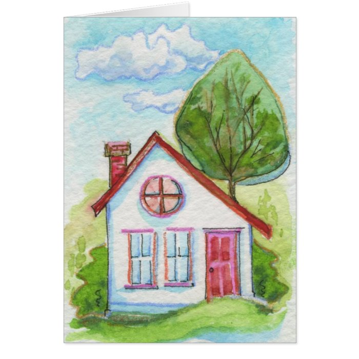 Colourful Watercolor House Greeting Card