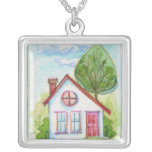 Colourful Watercolor House Personalised Necklace