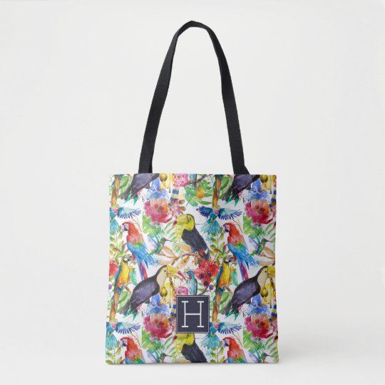 Colourful Watercolor Parrots | Add Your Initial Tote