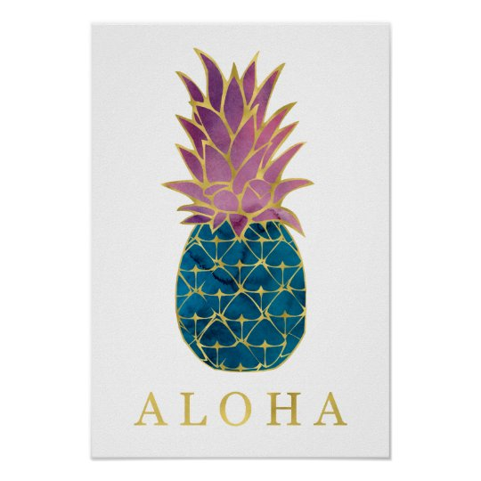 Colourful Watercolor Pineapple and Gold Aloha Poster