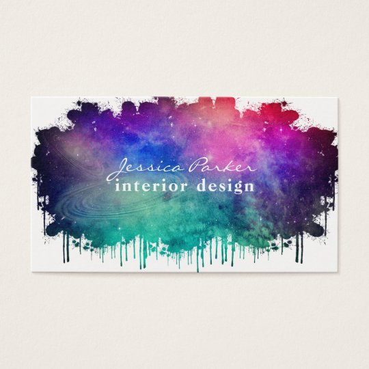 Colourful watercolor space splash business card