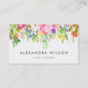 Colourful Watercolor Spring Blooms Business Card