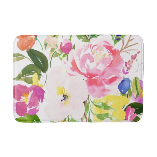 Colourful Watercolor Spring Blooms Floral Bath Mat