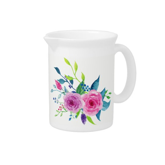 Colourful Watercolor Spring Flowers Pitcher