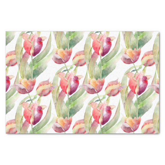 Colourful Watercolor Tulips Pattern Tissue Paper