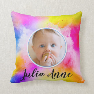 Colourful Watercolor Unisex Baby Photo Photograph Cushion