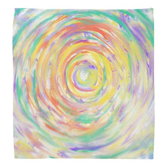 Colourful Watercolour Spiral Abstract Art Painting Bandana